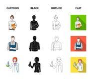 Cuisinier, peintre, professeur, mécanicien de serrurier Icônes réglées de collection de profession dans la bande dessinée, noir,  illustration stock