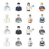 Cuisinier, peintre, professeur, mécanicien de serrurier Icônes réglées de collection de profession dans la bande dessinée, symbol illustration libre de droits