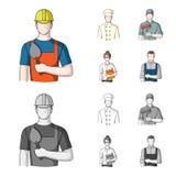 Cuisinier, peintre, professeur, mécanicien de serrurier Icônes réglées de collection de profession dans la bande dessinée, symbol illustration stock