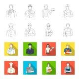Cuisinier, peintre, professeur, mécanicien de serrurier Icônes réglées de collection de profession dans le contour, actions plate illustration libre de droits