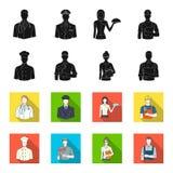Cuisinier, peintre, professeur, mécanicien de serrurier Icônes réglées de collection de profession dans le noir, actions de symbo illustration stock