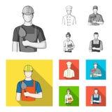 Cuisinier, peintre, professeur, mécanicien de serrurier Icônes réglées de collection de profession en stock monochrome et plat de illustration stock