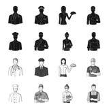 Cuisinier, peintre, professeur, mécanicien de serrurier Icônes réglées de collection de profession en stock noir et monochrome de illustration libre de droits