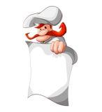 Cuisinier tenant la page de papier blanc Images stock