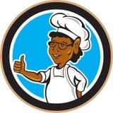 Cuisinier Thumbs Up Circle de chef d'afro-américain Image stock