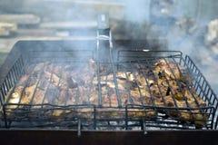 Cuisiniers de viande sur les charbons chauds dans la fumée Pique-nique en nature image libre de droits