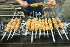 Cuisiniers de viande sur les charbons chauds dans la fumée Pique-nique en nature photos stock