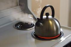 Cuisson à la vapeur de la bouilloire de thé Photos libres de droits