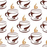 Cuisson à la vapeur de la tasse du modèle sans couture de café Images libres de droits
