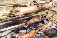 Cuisson bulgare d'agneau de barbecue Photos stock