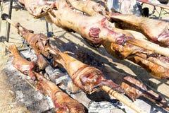 Cuisson bulgare d'agneau de barbecue Photographie stock libre de droits