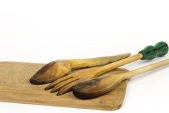 cuisson d'en bois blanc d'isolement d'ustensiles Photographie stock
