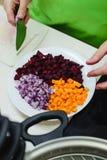 Cuisson d'un dîner végétarien Photographie stock libre de droits