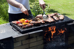 Cuisson de barbecue Photos libres de droits