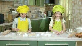 Cuisson de deux petites filles banque de vidéos