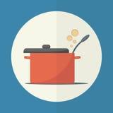 Cuisson de l'icône de casserole Photos libres de droits