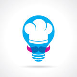 Cuisson de l'idée avec le chef dans une ampoule Image stock