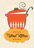 Cuisson de la casserole avec le message Photographie stock