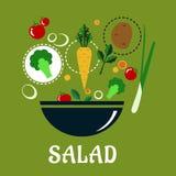 Cuisson de la conception de salade avec des légumes et Image libre de droits