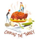 Cuisson de la dinde, de deux petits hommes faisant cuire la dinde de fête énorme pour le jour de thanksgiving ou les vacances de  illustration de vecteur