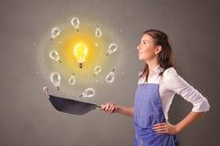 Cuisson de la nouvelle idée dans le wok photo stock