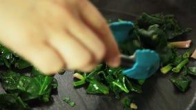 Cuisson de la recette de quiche et mélange des ingrédients banque de vidéos