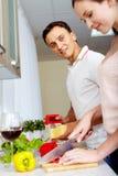 Cuisson de la salade Images libres de droits