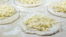 Cuisson des boulettes délicieuses faites maison fraîches (varenyky) avec le ch Photographie stock