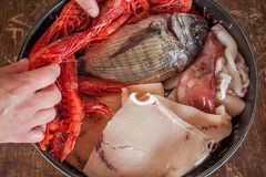 Cuisson des fruits de mer Image libre de droits