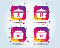 Cuisson des icônes de casserole Ébullition neuf, douze minutes illustration de vecteur