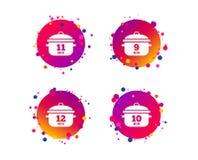Cuisson des icônes de casserole Ébullition neuf, douze minutes Vecteur illustration stock