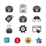 Cuisson des icônes de casserole Ébullition quinze minutes illustration de vecteur