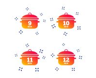 Cuisson des ic?nes de casserole ?bullition neuf, douze minutes Vecteur illustration de vecteur