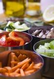 Cuisson des ingrédients. Légumes Image stock
