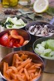 Cuisson des ingrédients. Légumes Photo stock