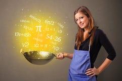 Cuisson des nombres dans le wok photo stock