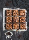 Cuisson douce de pâtisseries faites maison de tarte de morceau de gâteau de 'brownie' de chocolat Photos libres de droits