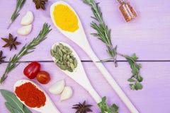 Cuisson du concept épicé chaud de nourriture Épices sèches, haricots et herbes dans la tasse en plastique, pot en verre avec du l image libre de droits