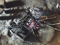 Cuisson du feu Photo libre de droits