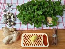 Cuisson du gâteau qoutweed de vert de gingembre, aliment biologique photographie stock