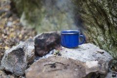 Cuisson du petit déjeuner au terrain de camping Photographie stock