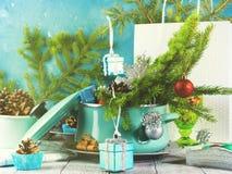 Cuisson du pot avec les branches et les décorations impeccables de Noël Concentré photos libres de droits