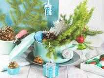 Cuisson du pot avec les branches et les décorations vertes de Noël photographie stock libre de droits