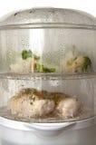 Cuisson saine dans le vapeur électrique moderne de nourriture Photo stock