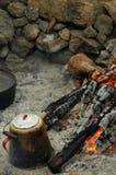 Cuisson sur un feu de camp Image libre de droits