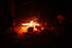 cuisson sur un feu de camp en plein air images stock