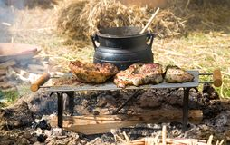 Cuisson traditionnelle de feu de camp Image stock
