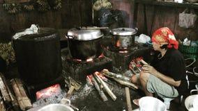 Cuisson traditionnelle, Yogyakarta Indonésie Photos libres de droits