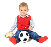 Cuite european boy playing with toys Royalty Free Stock Image