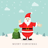 Cuite Santa Claus with gift scak for Merry Christmas celebrations. Merry Christmas celebration concept with cartoon of a Santa with gift sack showing thums up Stock Images